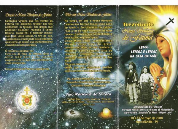 Confira a programação religiosa do trezenário da padroeira de Agricolândia