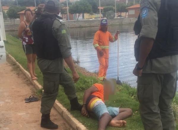 Menor suspeito de realizar assaltos é apreendido após cair dentro de açude em Água Branca
