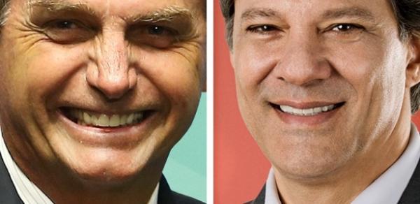 Ibope para presidente, votos válidos: Bolsonaro, 57%; Haddad, 43%