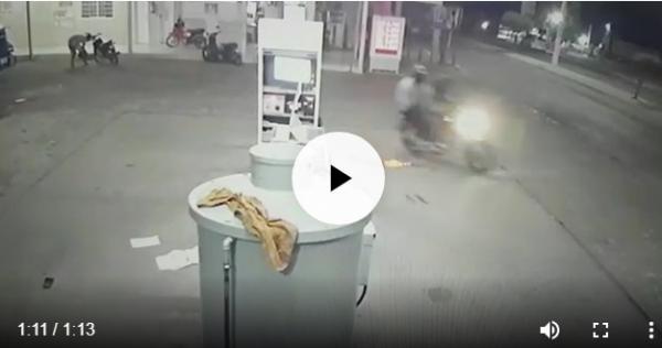 Câmeras de segurança registram assalto a posto de Combustíveis no centro de Água Branca (PI)