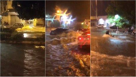 Vídeos: Fortes chuvas arrastam carros e motos na zona Sul de Teresina