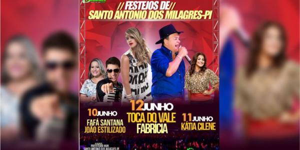 Festejo de Santo Antônio dos Milagres tem Show de Toca do Vale, Fabrícia, Kátia Cilene e muito mais