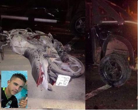 Jovem morre em acidente entre caminhonete e motocicleta na BR 343, na entrada de São Pedro do Piauí