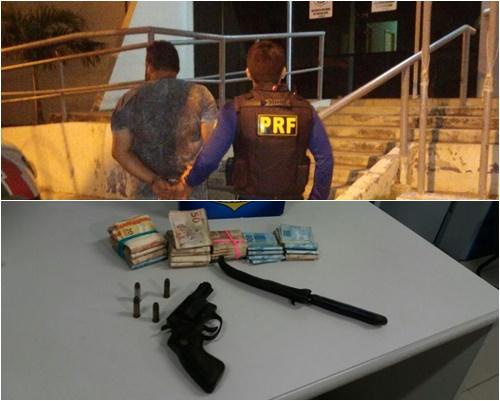 Homem com mandado de prisão em aberto é preso pela PRF com mais de R$ 25 mil