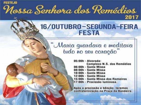 Programação do dia 16/10 no festejo de Nossa Senhora dos Remédios