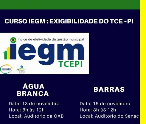 TCE realizará curso sobre IEGM em Água Branca e Barras