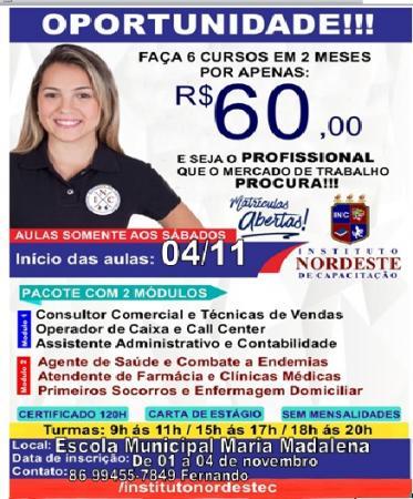 Instituto Nordeste está oferecendo SEIS cursos em Hugo Napoleão!  MATRICULE-SE