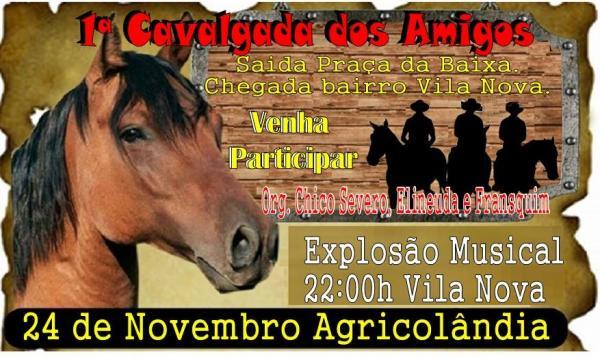 1ª Cavalgada dos Amigos acontecerá no dia 24 de novembro
