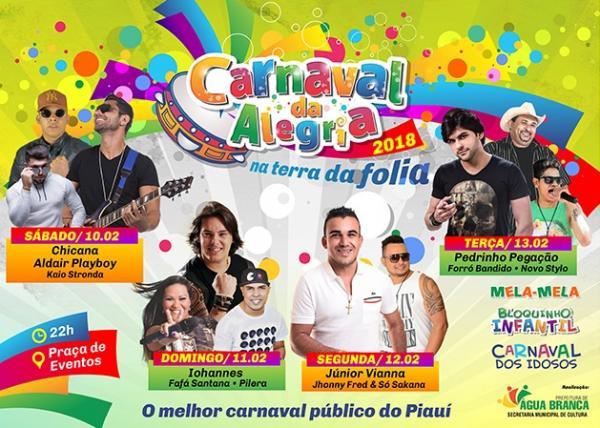 Prefeitura de Água Branca define programação do Carnaval 2018