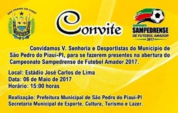 Campeonato municipal de futebol amador de São Pedro terá início dia o6 de maio
